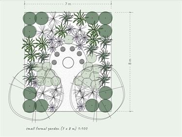 Small formal garden design for bandicoot garden.