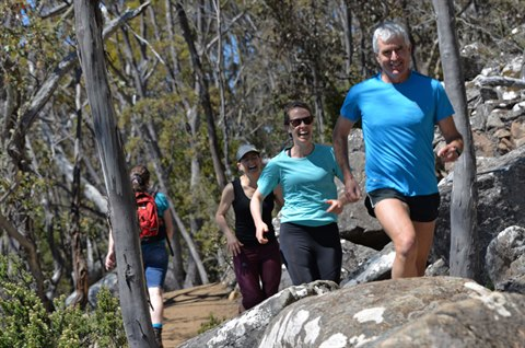 Trail running on the Organ Pipes Track