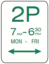 2 hour parking, Monday - Friday sign