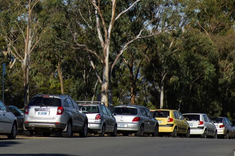 Cars parked at the Domain