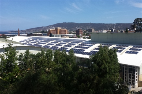 Solar panels on top of the Doone Kennedy Hobart Aquatic Centre roof