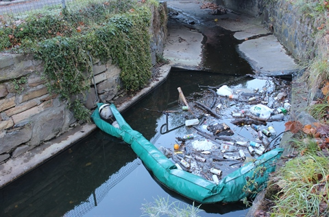 Photo of rubbish trap in Sandy Bay Rivulet