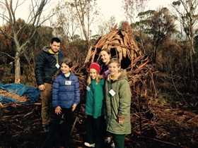 Mt Nelson 2015 DEHEG recipients with their bark shelter