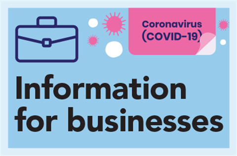 Information for businesses during the Coronavirus crisis with briefcase icon