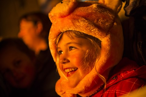 Child in plush costume with the glow of a fire on his face