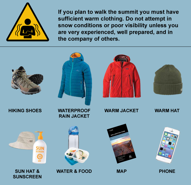 If you plan to walk the summit you must have sufficient warm clothing. Do not attempt in snow conditions or poor visibility unless you are very experienced, well prepared, and in the company of others - hiking shoes, waterproof rain jacket, warm jacket, warm hat, sun hat and sunscreen, water and food, map, phone.